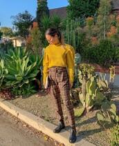 pants,plaid,plaid pants,jamie chung,blogger,blogger style,sweater,mustard,instagram