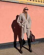 jacket,grey jacket,puffed sleeves,grey pants,skinny pants,black boots,knee high boots,shoulder bag,turtleneck