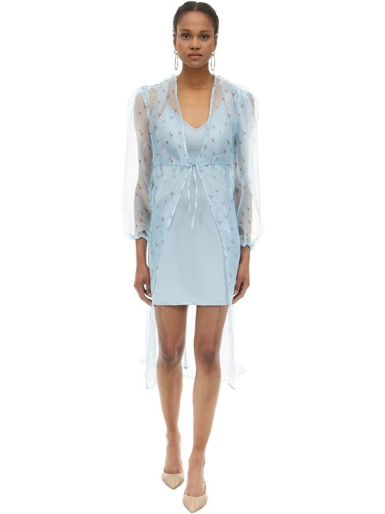 AÉRYNE Sarah Long Floral Print Organza Dress in blue