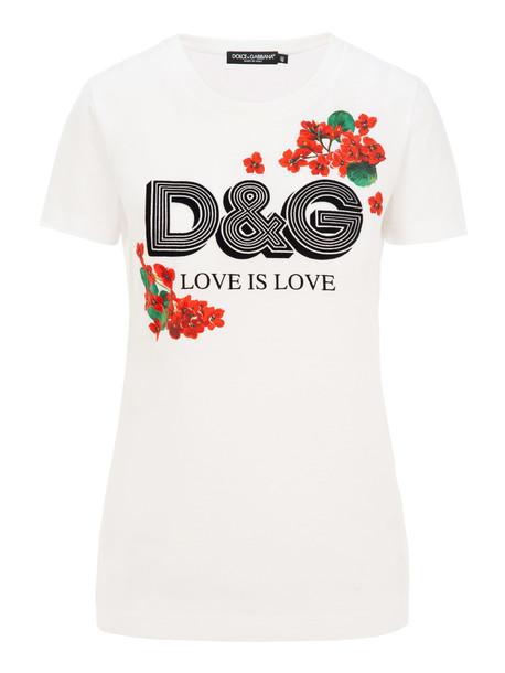 Dolce & gabbana Logo And Geranium Print T-shirt