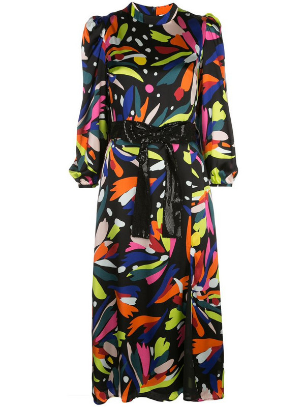 Olivia Rubin abstract print midi dress in black