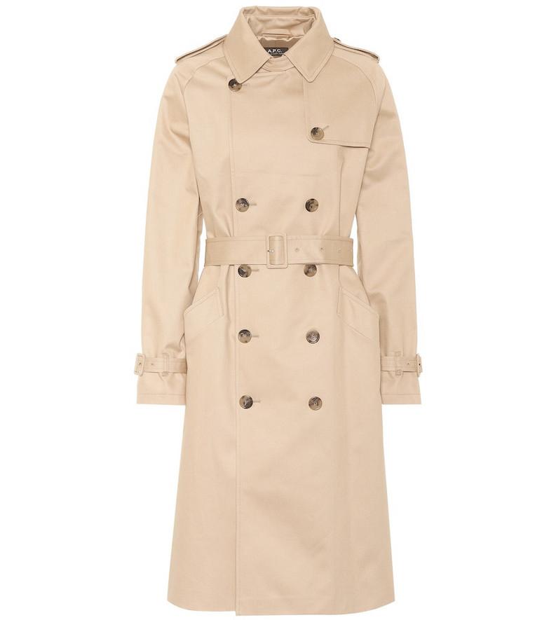 A.P.C. Greta cotton gabardine trench coat in beige