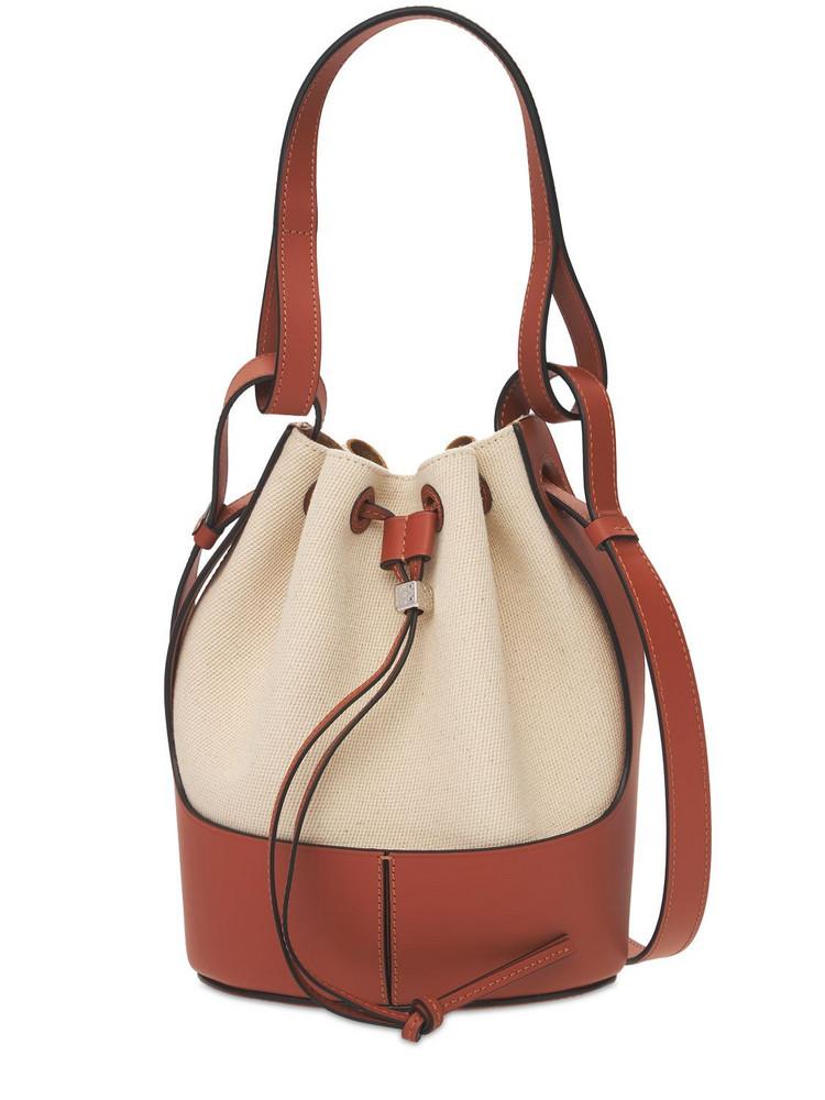 LOEWE Small Canvas & Leather Balloon Bag in tan
