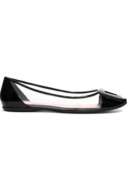 Roger Vivier - Gommette Pvc And Patent-leather Ballet Flats - Black