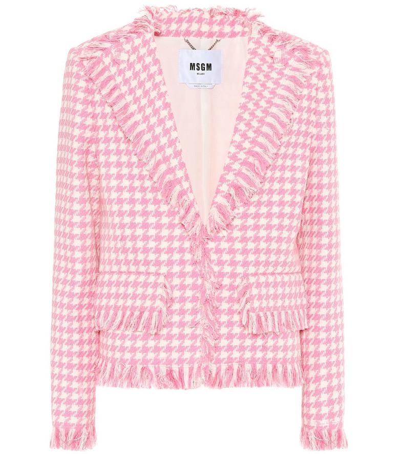MSGM Houndstooth tweed blazer in pink