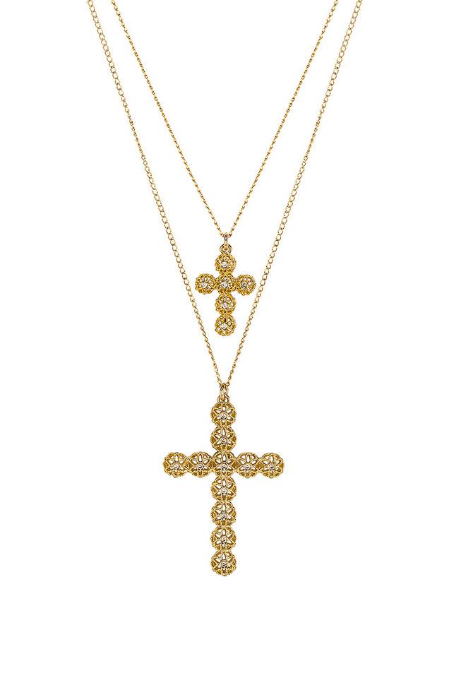 Paradigm Double Cross Necklace in gold / metallic