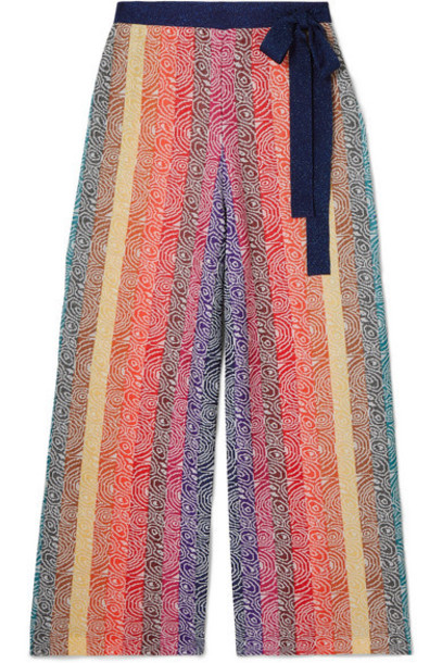 Mary Katrantzou - Rego Glittered Jacquard-knit Wide-leg Pants - Pink