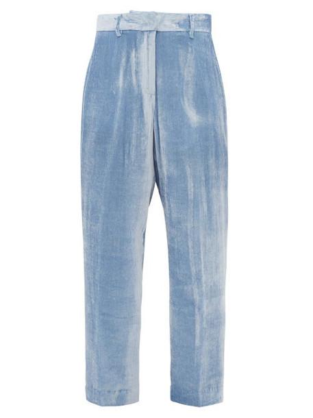 Sies Marjan - Willa Silk Blend Velvet Corduroy Trousers - Womens - Light Blue