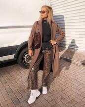 pants,wide-leg pants,snake print,white shoes,long coat,brown coat,black turtleneck top,belt bag,shoulder bag