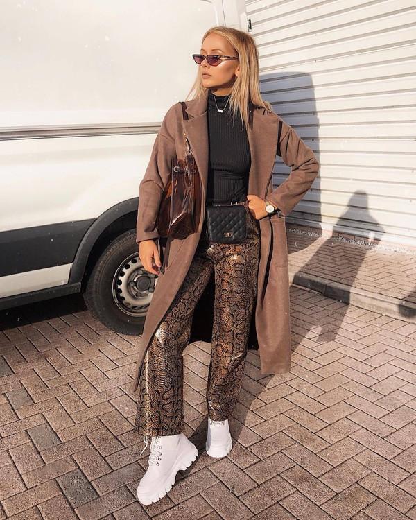 pants wide-leg pants snake print white shoes long coat brown coat black turtleneck top belt bag shoulder bag