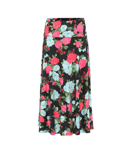 Erdem Elvin floral jersey midi skirt in black