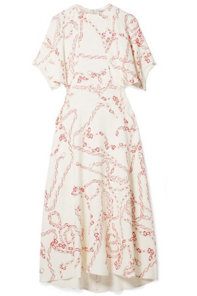 Victoria Beckham - Paneled Printed Crepe Midi Dress - Cream