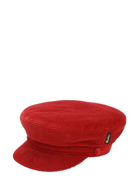BORSALINO Cotton & Cashmere Velvet Sailor Hat in red