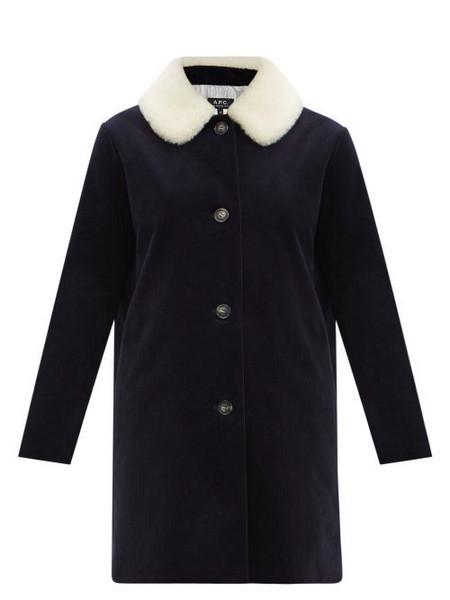 A.P.C. A.P.C. - Shearling-collar Corduroy Coat - Womens - Navy