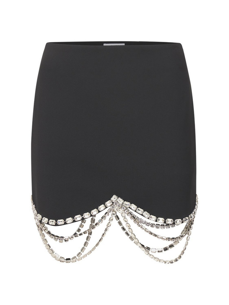 AREA Crystal Embellished Crepe Mini Skirt in black