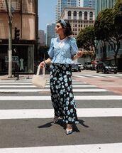skirt,black skirt,floral skirt,maxi skirt,pumps,blouse,white t-shirt,white bag