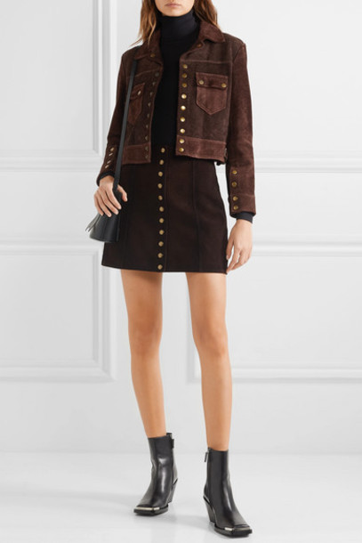 RE/DONE - 60s Cropped Two-tone Suede Jacket - Dark brown