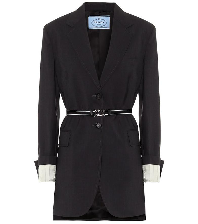 Prada Belted wool-twill blazer in black