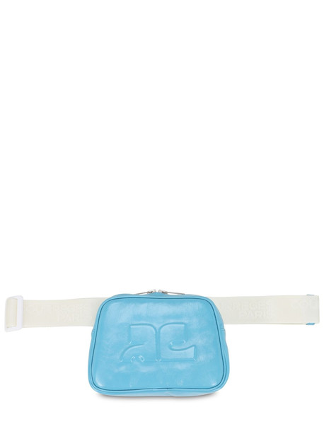 COURREGES Embossed Logo Patent Leather Belt Bag in blue
