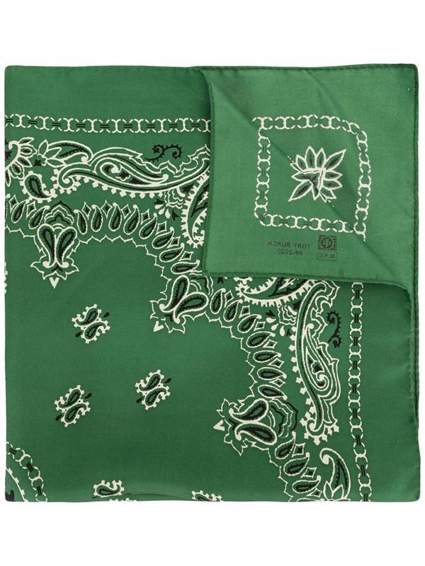 Tory Burch Bandana-embroidered silk scarf in green