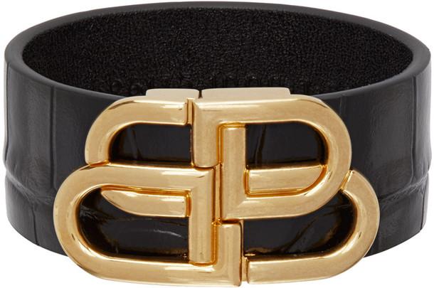 Balenciaga Black Croc Large BB Bracelet