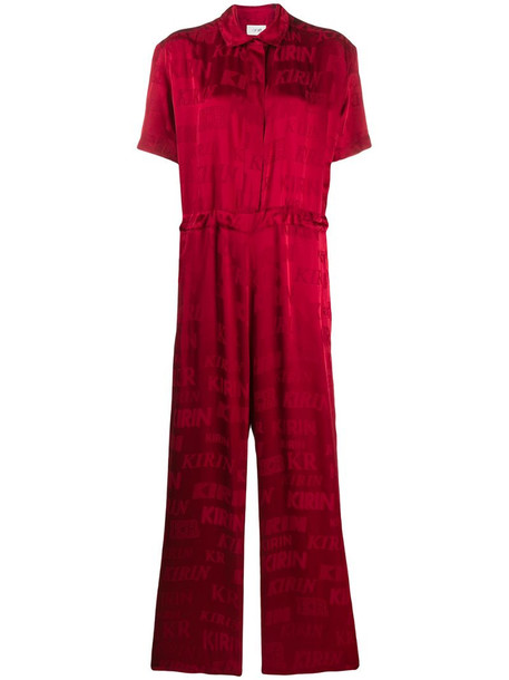 Kirin button down sporty jumpsuit in red