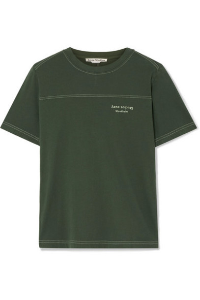 Acne Studios - Ewanda Embroidered Cotton-jersey T-shirt - Army green