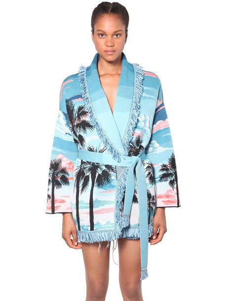 ALANUI Fringed Wool & Silk Knit Cardigan in blue / pink