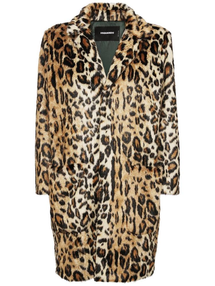 DSQUARED2 Leopard Printed Faux Fur Coat
