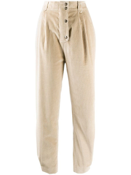 Etro ribbed high-waisted trousers in neutrals