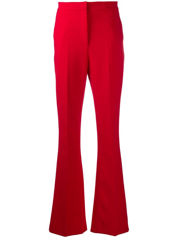 Manuel Ritz flared high-waisted trousers in red