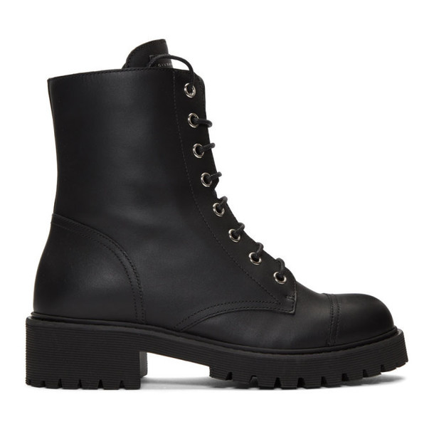 Giuseppe Zanotti Black Leather Combat Boots