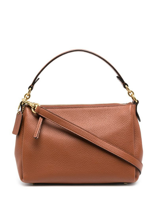 Coach zip-up leather tote bag in brown