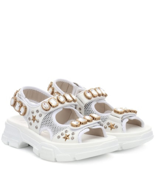 Gucci Embellished leather and mesh sandals in white