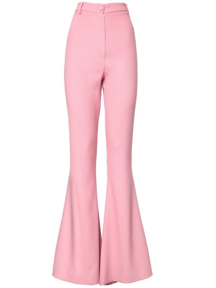 HEBE STUDIO Bianca High Waist Flared Cady Pants in pink