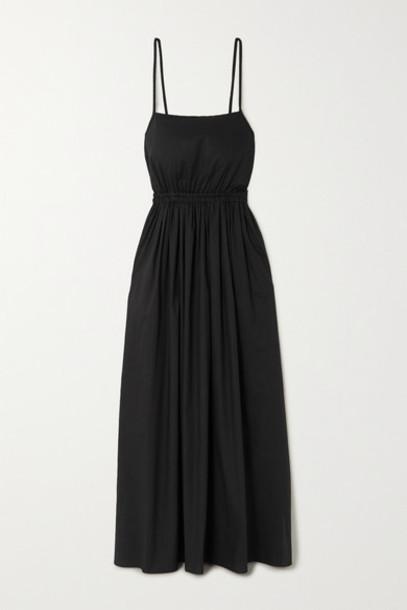 Matteau - Net Sustain Gathered Cotton-poplin Maxi Dress - Black