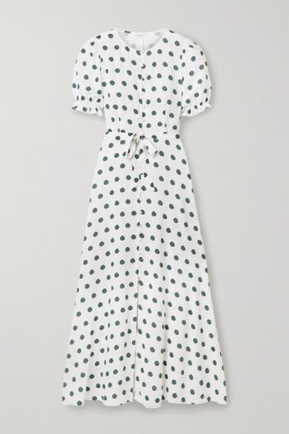 Peony - Poolside Polka-dot Woven Maxi Dress - Off-white