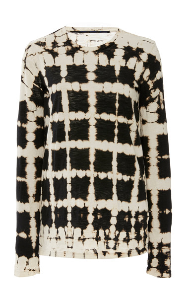 Proenza Schouler Tie-Dye Cotton-Jersey Top Size: XS in black