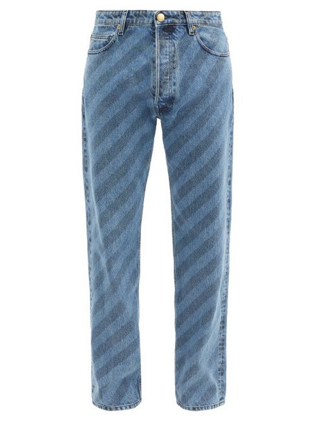 Marni - Striped Straight-leg Jeans - Mens - Blue