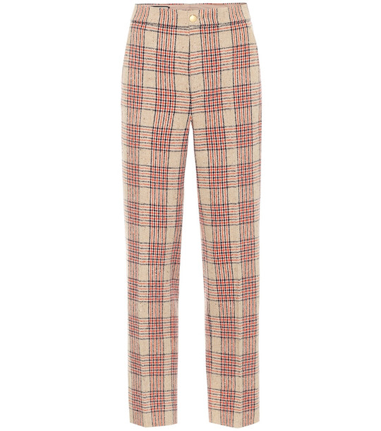 Gucci Checked wool-blend pants in beige
