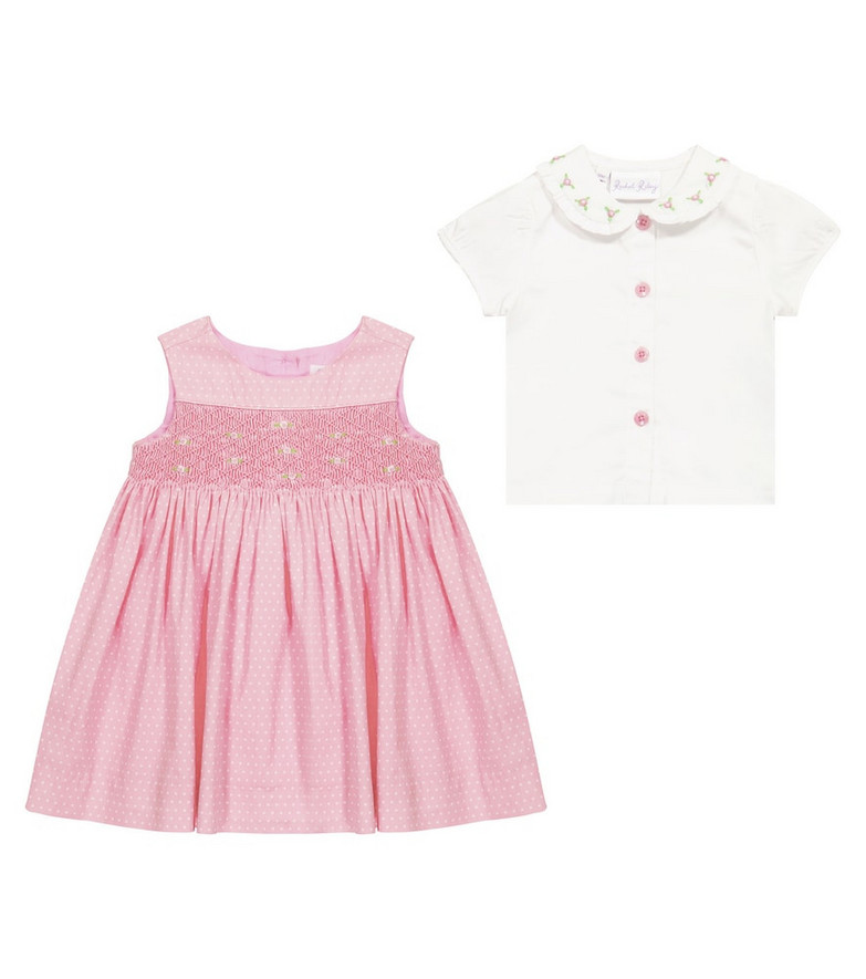 Rachel Riley Baby cotton dress and blouse set in pink