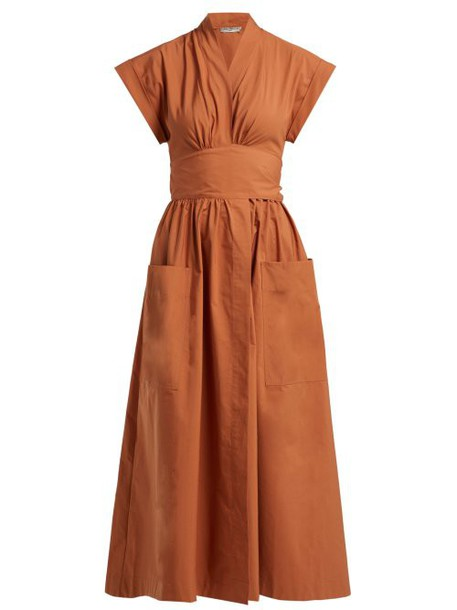 Three Graces London - Clarissa Tie Back Cotton Wrap Dress - Womens - Light Brown