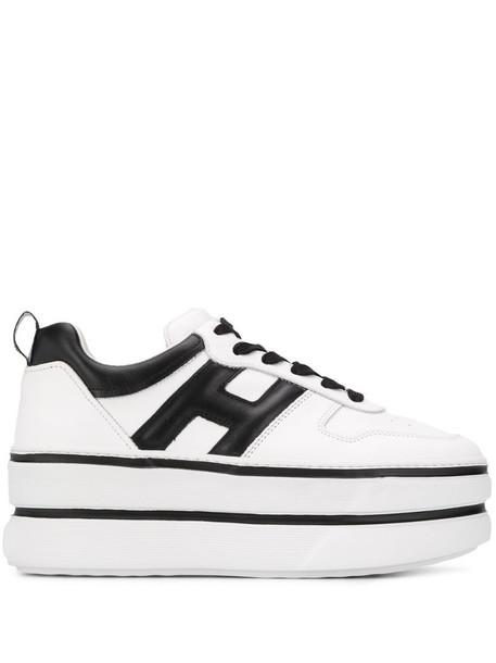 Hogan platform low top sneakers in white