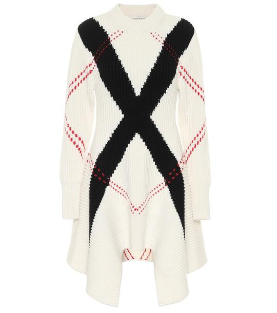 Alexander McQueen Argyle intarsia wool-blend sweater in white
