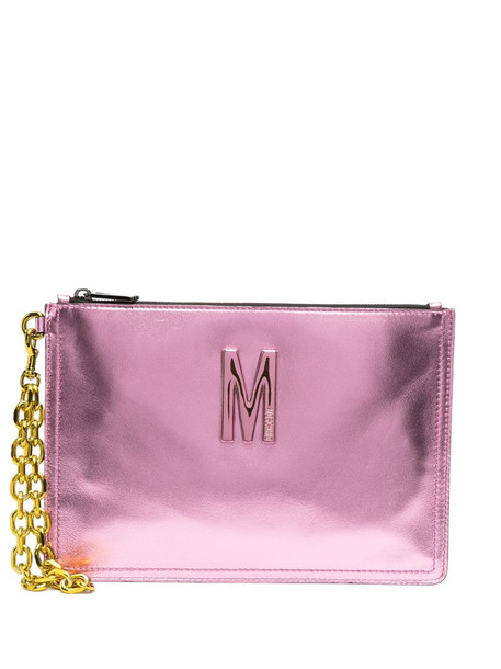 Moschino M metallic-effect clutch bag in pink