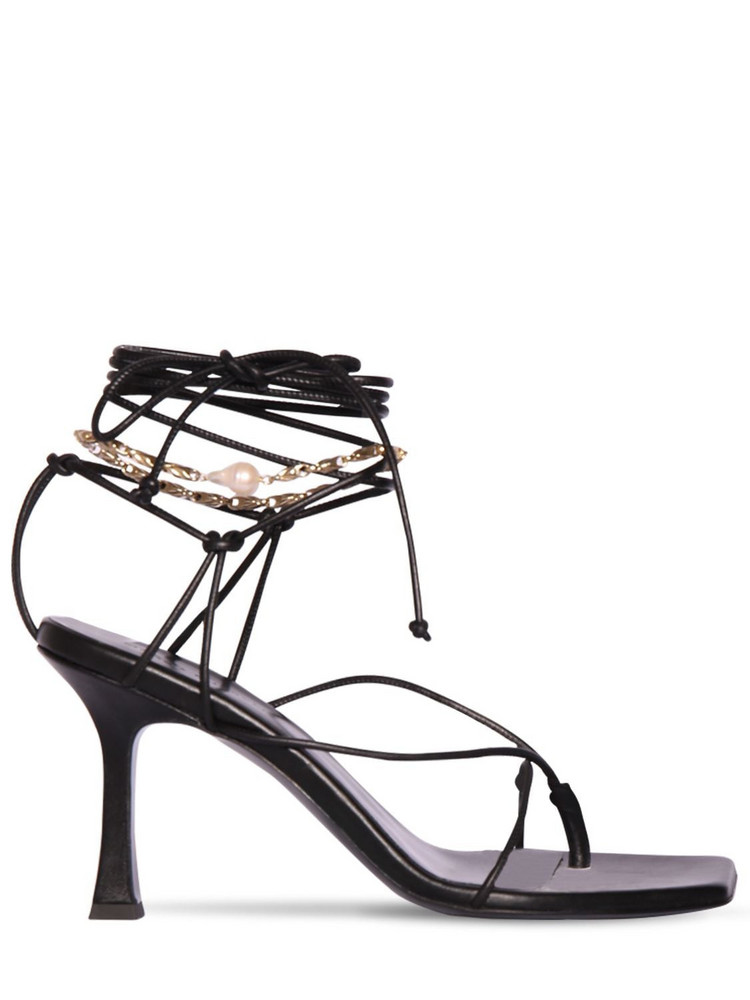 MAGDA BUTRYM 80mm Sweden Leather Lace-up Thong Sandal in black