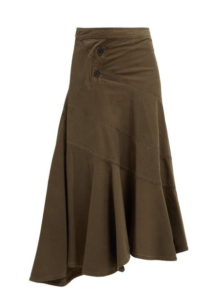 Jw Anderson - Twisted Cotton Twill Skirt - Womens - Khaki
