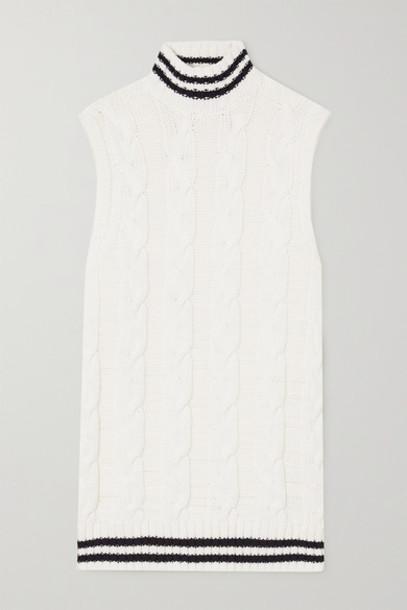 GANNI - Striped Cable-knit Cotton-blend Turtleneck Vest - Ivory