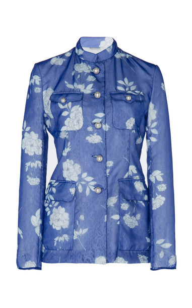 Huishan Zhang Brigette Floral Chantilly Jacket Size: 6 in blue