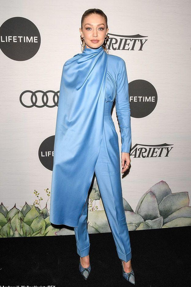 jumpsuit blue pants top cape gigi hadid model off-duty pumps celebrity